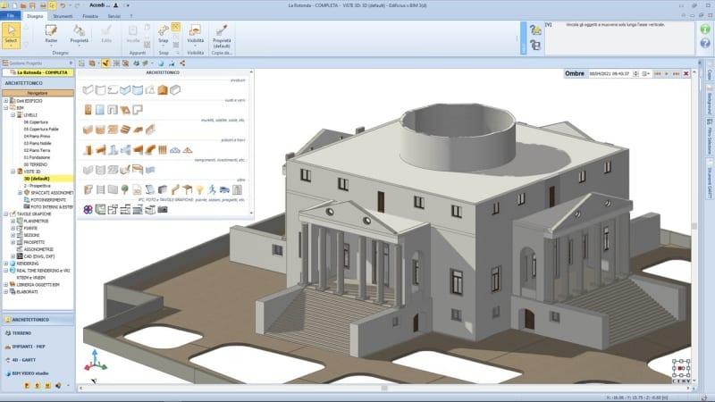 Modello HBIM di un edificio storico | Definizione dei volumi con gli oggetti parametrici con Edificius