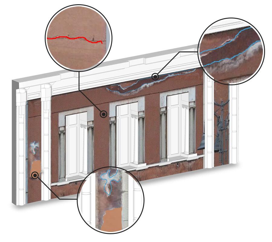 Sviluppare un modello BIM di un edificio storico: Ortofoto-lesioni