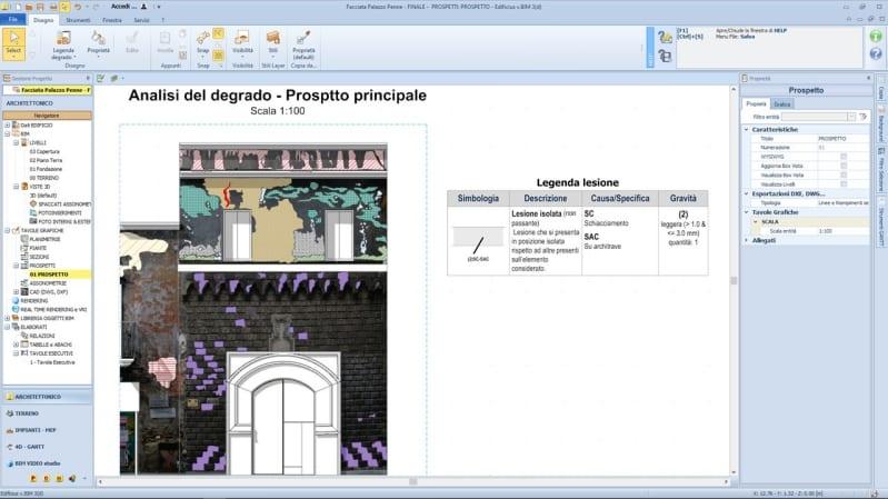 Analisi del quadro fessurativo con Edificius - palazzo Penne