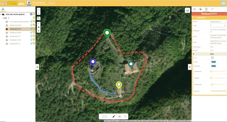 Geolocalizzazione dell'area di studio su usBIM