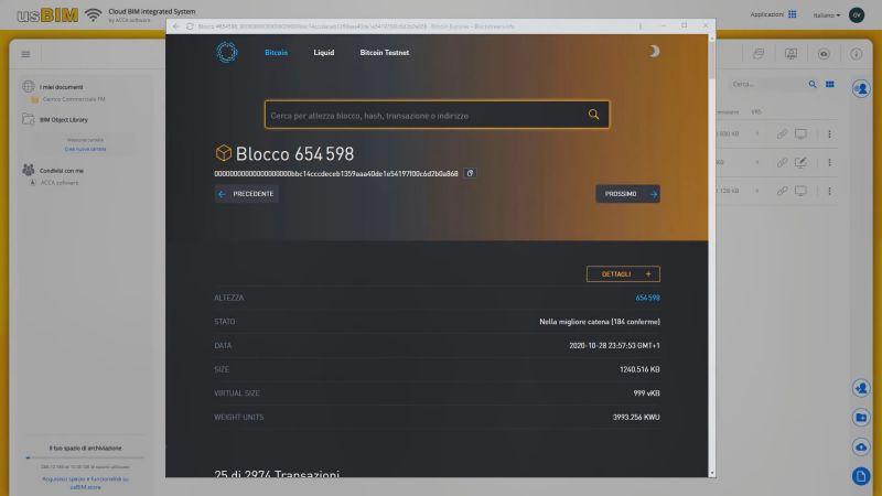 usBIM.blockchain_Informazioni su certificazione
