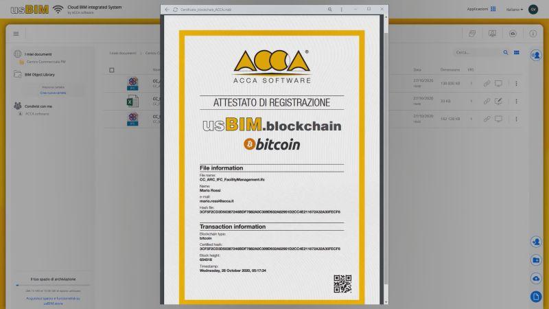 usBIM.blockchain_attestato di certificazione