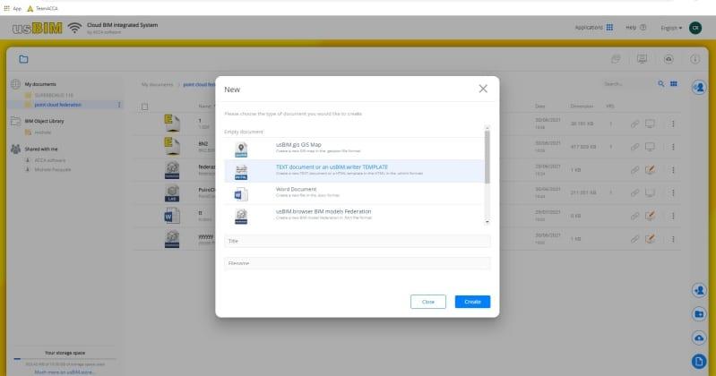 Immagine che mostra come accedere ad usBIM.writer per scrivere e condividere documenti online