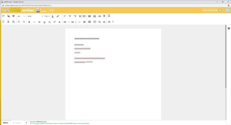 Immagine che mostra come scrivere documenti online con usBIM.writer