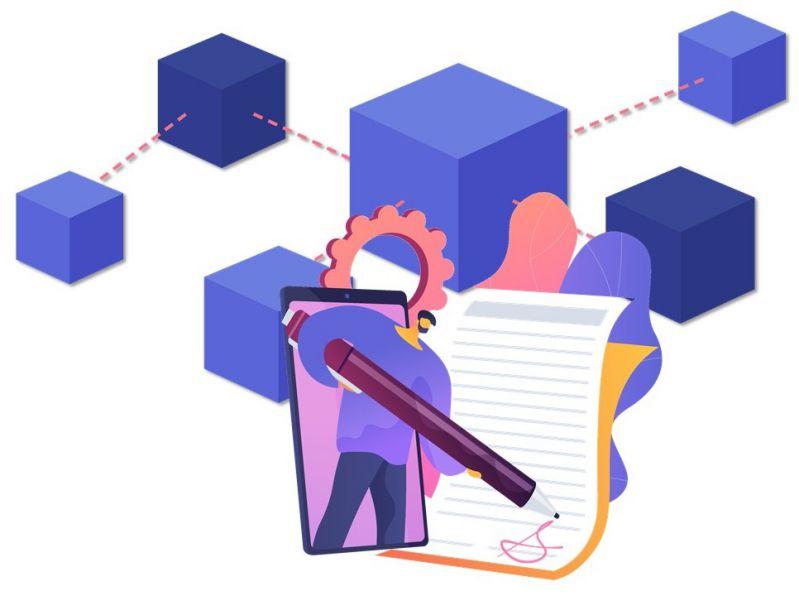 Immagine che mette in evidenza il legame esistente tra smart contract e blockchain