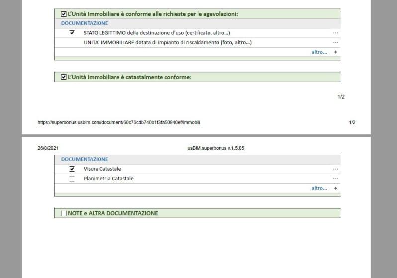 Schermata che mostra il documento PDF dello studio di fattibilità Ecobonus 110 - verifica oggettiva con usBIM.superbonus