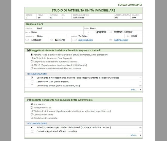 Schermata che mostra il documento PDF dello studio di fattibilità Ecobonus 110 - verifica soggettiva con usBIM.superbonus