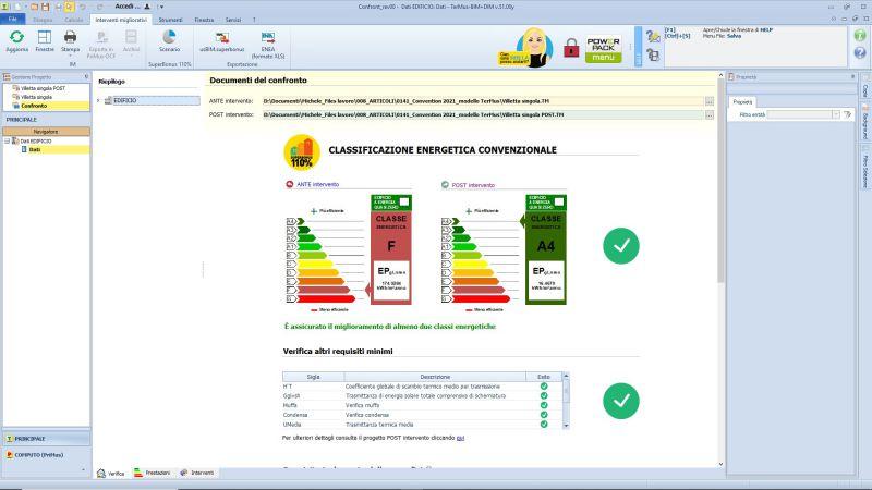 Superbonus, calcolo energetico e asseverazione ENEA - Documenti di confronto APE ante e post operam elaborata con TerMus BIM