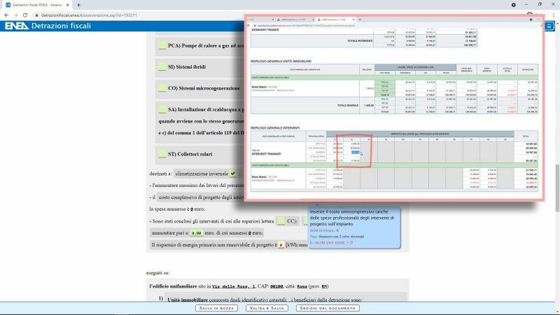 Superbonus, calcolo energetico e asseverazione ENEA - Immagine che mostra la compilazione dei dati per il Superbonus sul portale ENEA