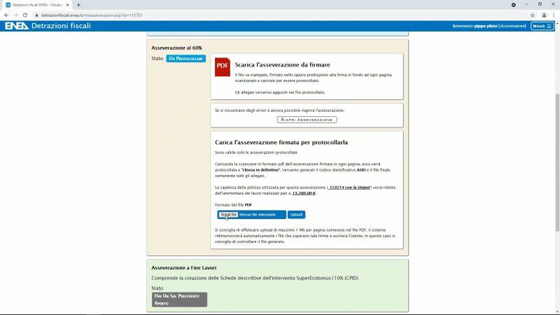 Superbonus, calcolo energetico e asseverazione ENEA - Immagine che mostra la schermata di download dell'asseverazione ENEA