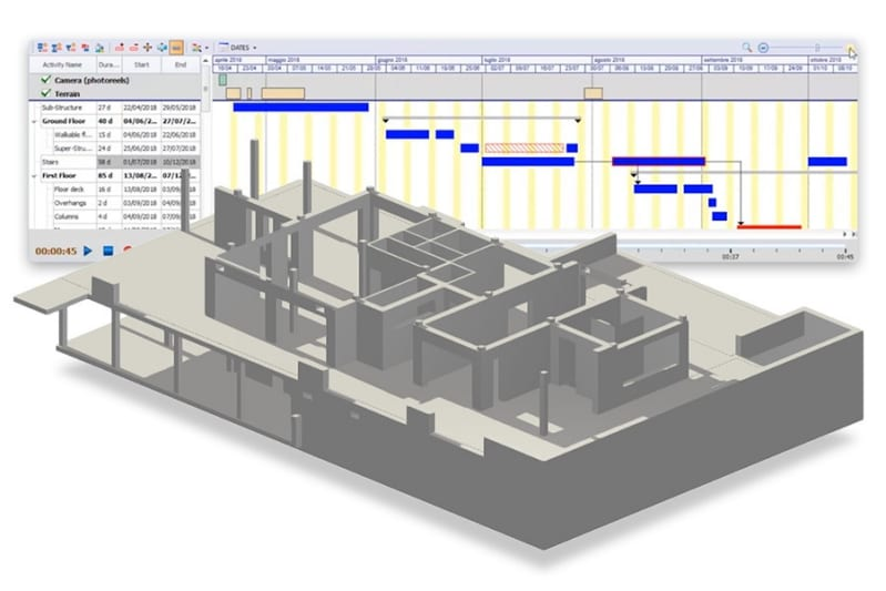 immagine che mostra un modello BIM 4D con le varie attività di cantiere