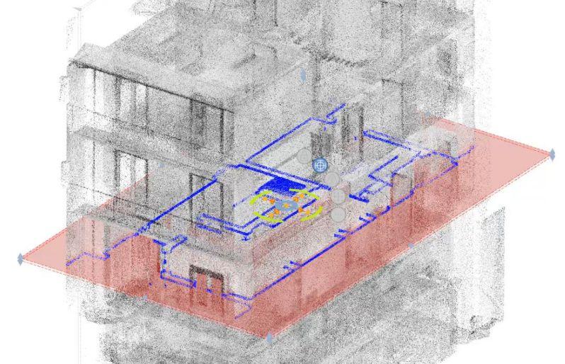 scan to bim - nuvola di punti sezione modello bim