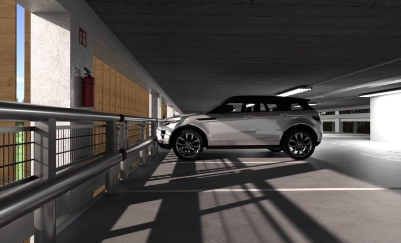 Come progettare un parcheggio - Render realizzato con Edificius