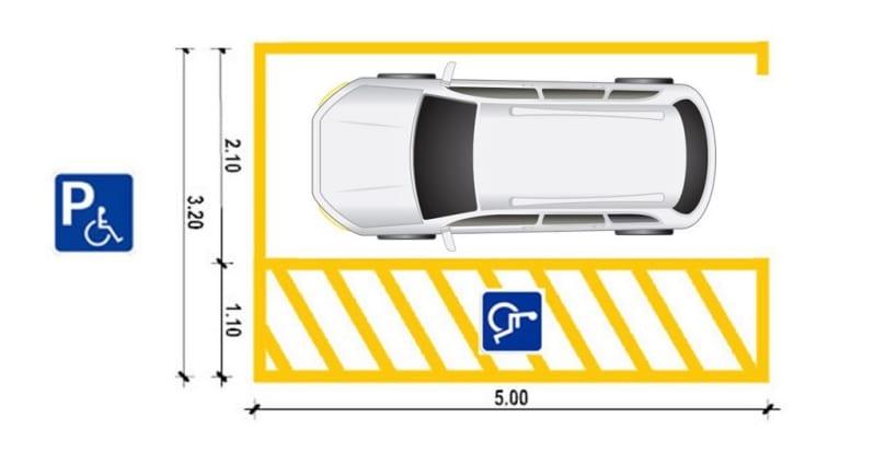Immagine che mostra il progetto di un posto auto per diversamente abili