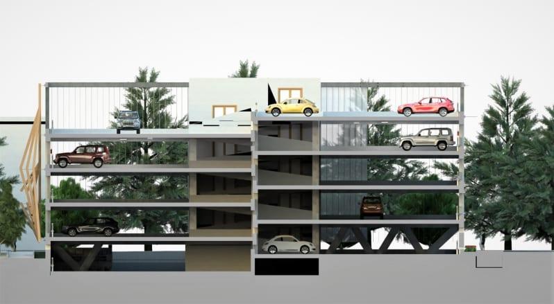 Sezione renderizzata del progetto di un parcheggio realizzato con Edificius