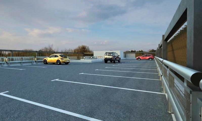 Rendere che mostra il progetto di un parcheggio